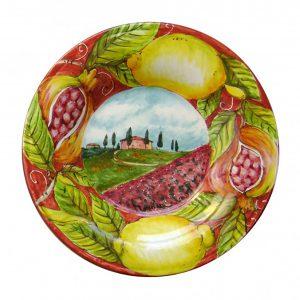 Piatto Decoro Paesaggio Toscano